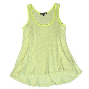 Living Doll Neon Yellow High-low Tank Sz Med